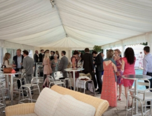 Wedding marquee reception by the pool